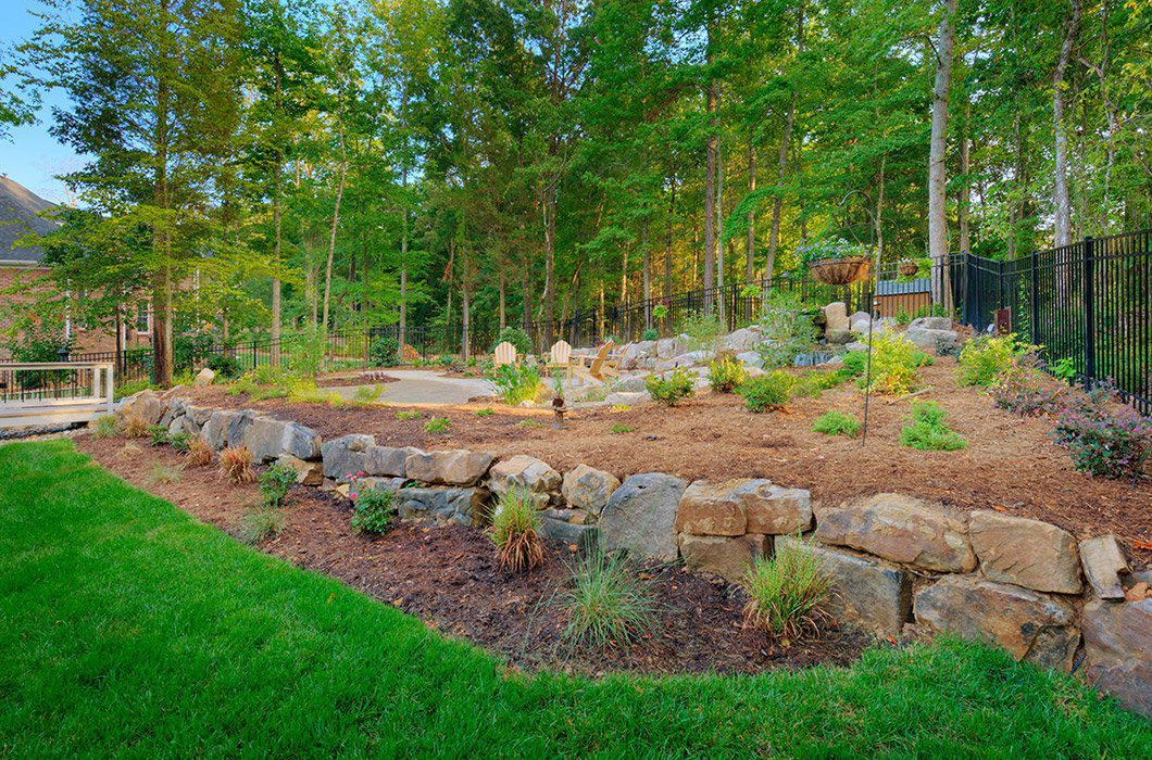Retaining walls are a popular landscaping with rock idea
