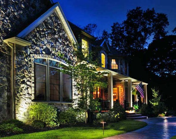 Ourdoor lighting - Charlotte home illuminated by outdoor lighting | MetroGreenscape