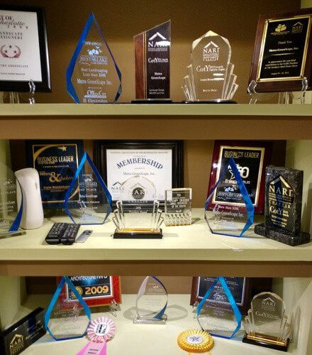 Shelf of MetroGreenscape awards