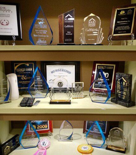 Shelf of MetroGreenscape awards