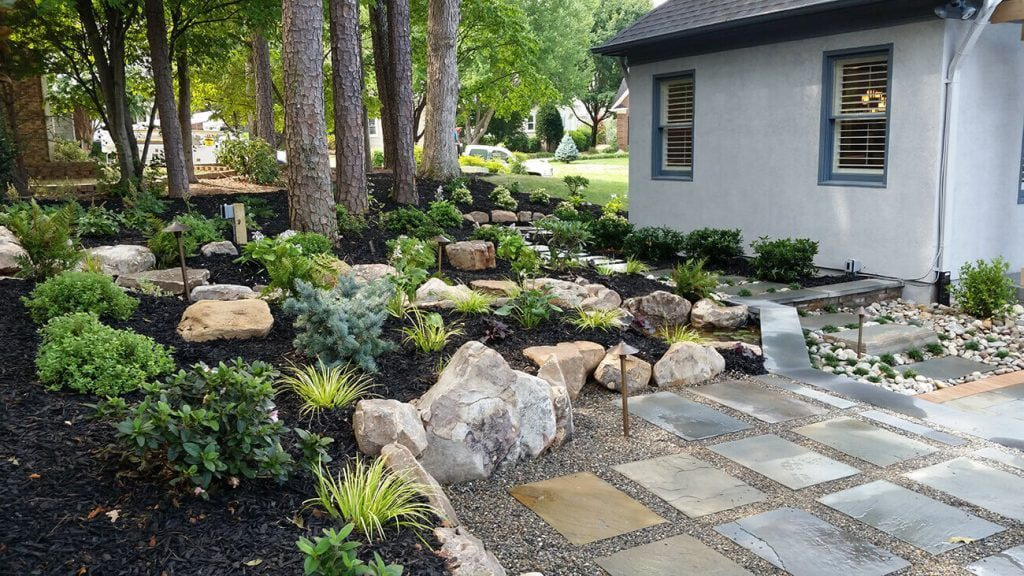 Landscaping with rock adds color and variety