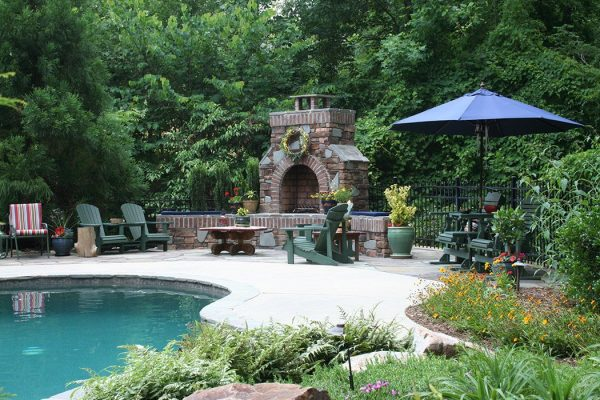 Charlotte, NC outdoor firepit and landscaping by MetroGreenscape
