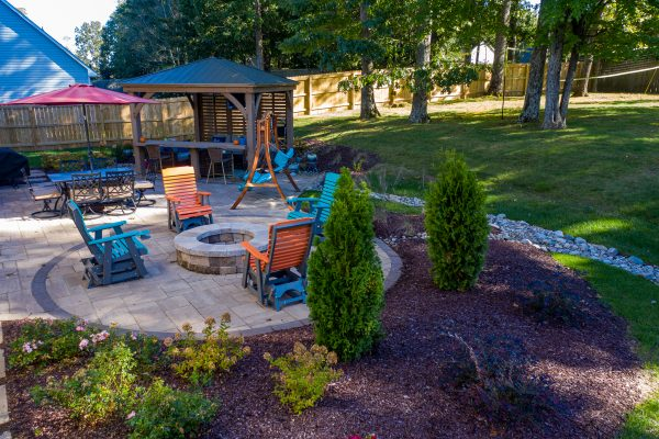 MetroGreenscape patio, fire pit and landscaping in Charlotte NC