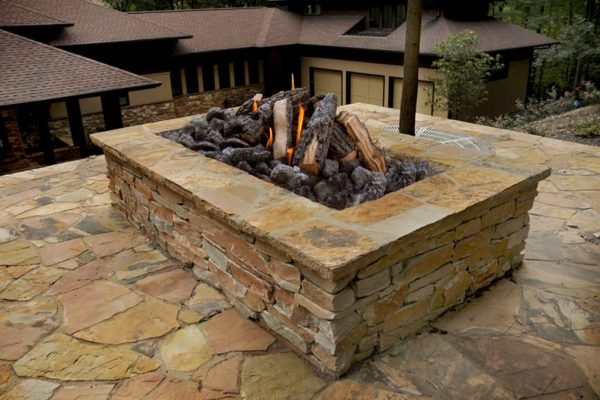 Large outdoor fire pit with Natural stone in Charlotte NC