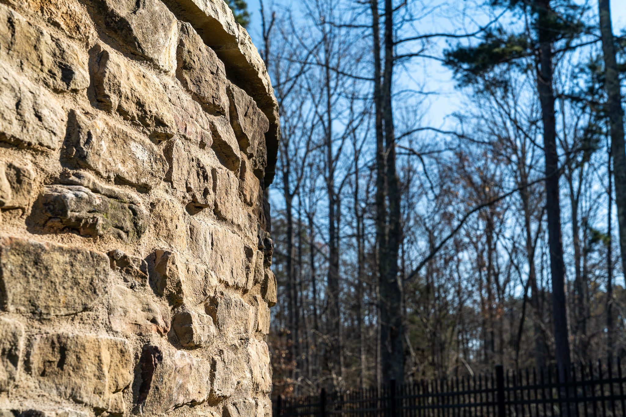 Close up of natural stone retaining wall
