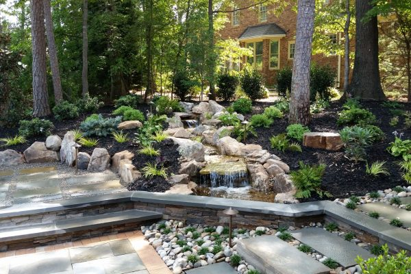 Japanese-style landscaping, patio and outdoor lighting