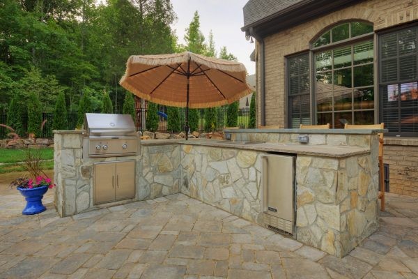 Natural stone luxury outdoor kitchen in Charlotte