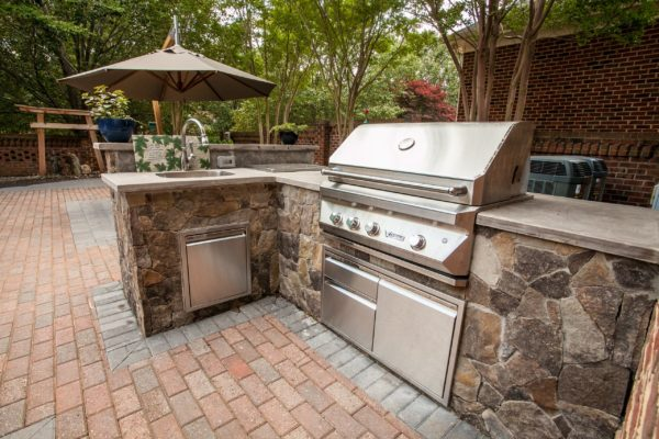 Luxury outdoor kitchen with a built-in grill