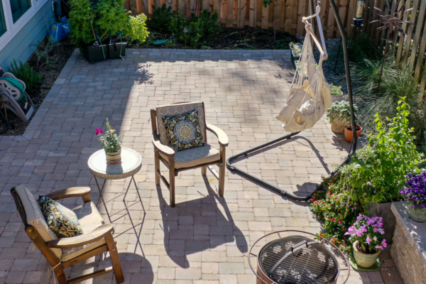 Small paver patio | Custom hardscape design by MetroGreenscape